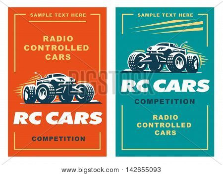 Radio controlled machine, RC, radio controlled toys design elements for emblems, icon, labels