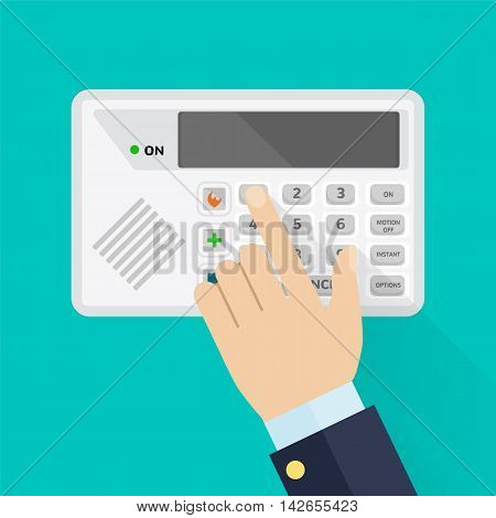 Keypad of security system for entering inside, colorful vector flat illustration