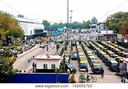 New Delhi India - Jule 21 2011: taxi park in row waiting for passengers.