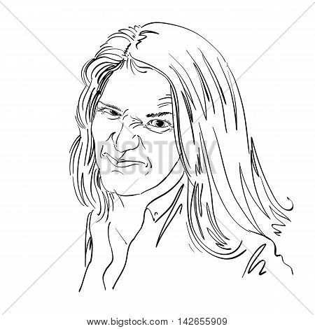 Vector art drawing portrait of nasty girl with wrinkles making ugly grimace.