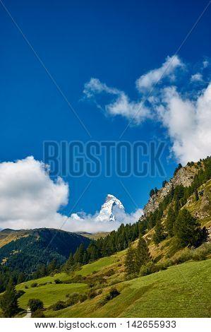 Snow capped mountains. Trek near Matterhorn mount.