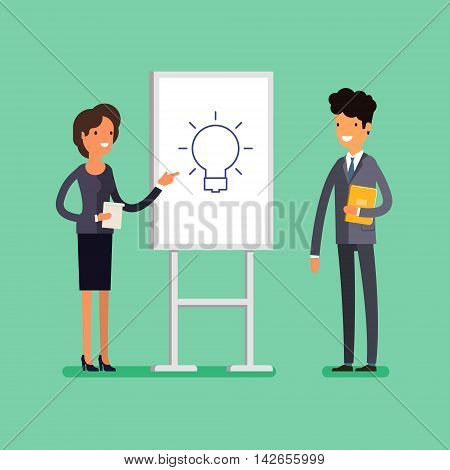 Business concept. Cartoon businesswoman making presentation explaining idea on a white board. Flat design, vector illustration.
