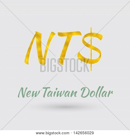 Symbol of the New Taiwan Dollar Currency with Golden Texture. Text with the Taiwan Currency Name. Vector EPS 10