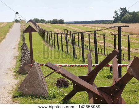 Memory of communism iron curtain in Cizov in Czech Republic village near border with Austria.