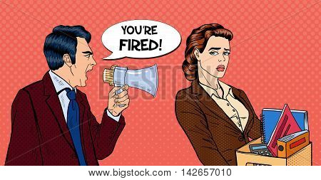 Angry Boss Screaming in Megaphone and Fireing Woman. Pop Art Vector illustration