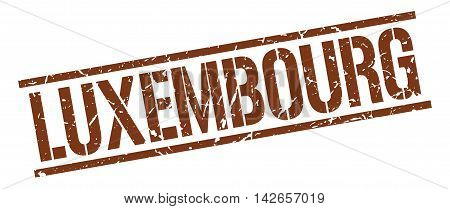 Luxembourg stamp. brown grunge square isolated sign