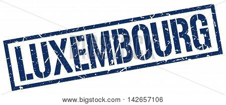 Luxembourg stamp. blue grunge square isolated sign