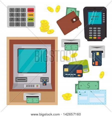 Money, ATM - cash machine vector icons set. Payment design atm icons self-service terminals currency dollar, credit business sign. Finance and business vector atm icons money bank card.