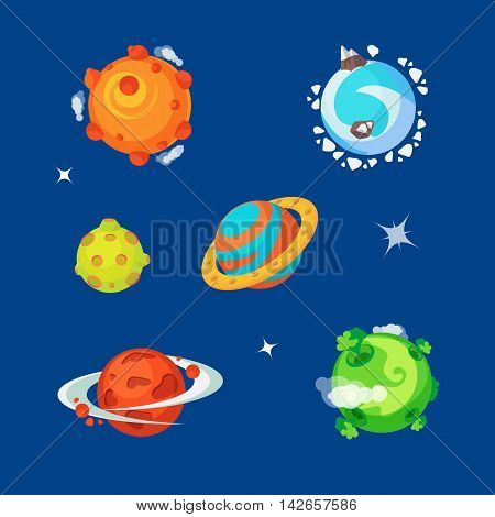 Set of various cartoony aliens planets is the space. Colorful vector flat illustration.