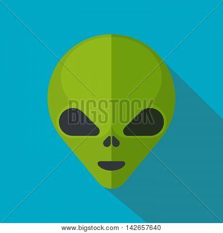 Green cartoon aliens head isolated. Colorful vector flat illustration.