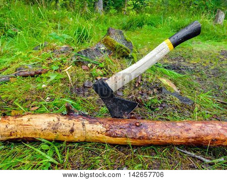 Axe for felling trees. The woodcutter's axe stuck in a tree. Rural life in the village. Work on a ranch for firewood.