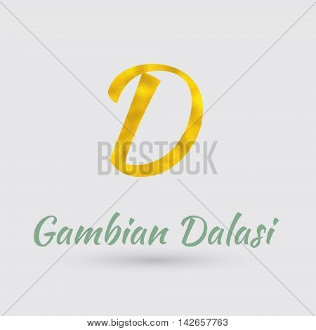 Symbol of the Gambian Dalasi Currency with Golden Texture. Text with the Gambia Currency Name.Vector EPS 10