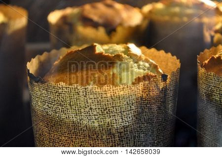 Easter cakes are baked in the oven closeup