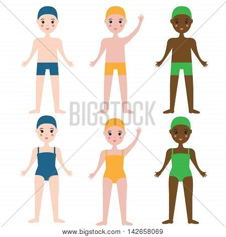 Children swimming sport team. Boys and girls in swimming clothes. Kids sport theme