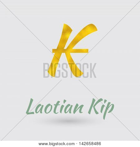 Symbol of the Kip Currency with Golden Texture. Text with the Laos Currency Name.Vector EPS 10