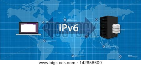 IPv6 Internet Protocol version 6 connection server computer standard vector