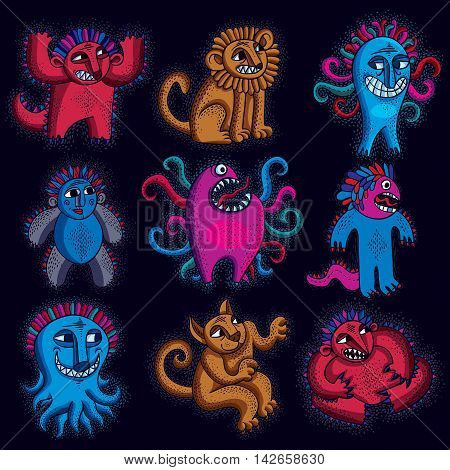 Set of character monsters vector illustration collection of cute mutants. C
