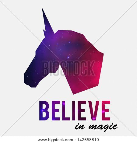 Unicorn head silhouette with galaxy space fill inside. Vector illustration