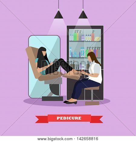Beauty salon vector concept banners. Women in beauty studio making manicure illustration in flat cartoon style.