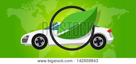 hydrogen fuel cell car eco environment friendly zero emission green leaf vector