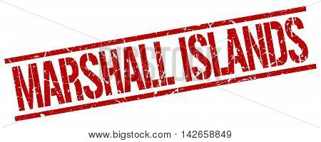 Marshall Islands stamp. red grunge square isolated sign