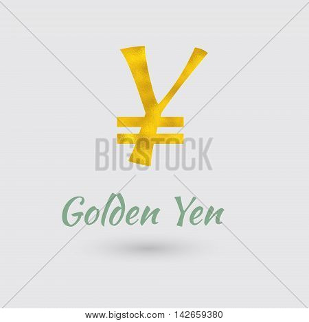 Symbol of the Yen Currency with Golden Texture. Text with the Japan Currency Name.Vector EPS 10