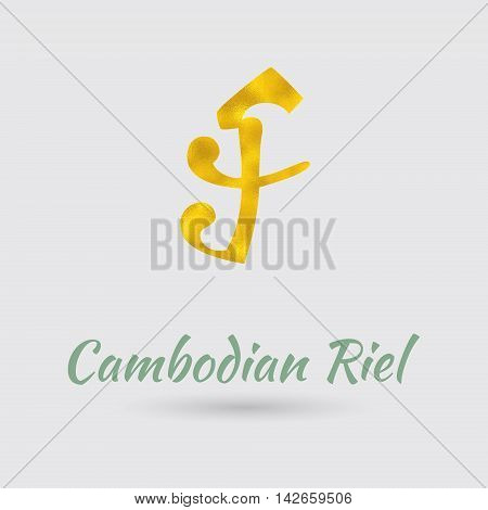 Symbol of the Riel Currency with Golden Texture. Text with the Cambodia Currency Name.Vector EPS 10