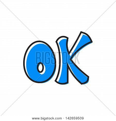 Word ok icon in flat style isolated on white background. Click and choice symbol