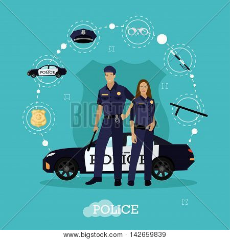 Police man and woman stay next to police car. Concept vector illustration in flat style. Officer in uniform.