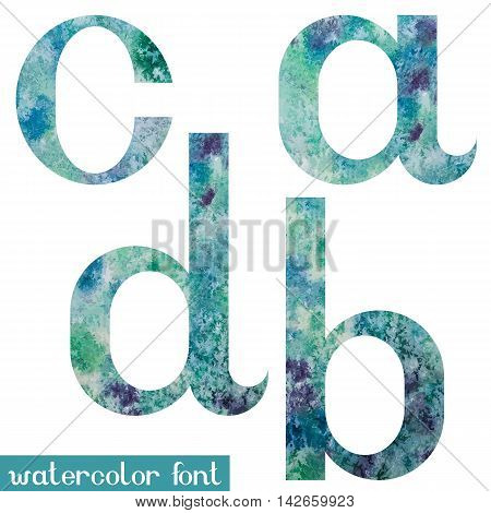 Colorful green-blue watercolor paint alphabet letters A, B, C, D - vector Illustration