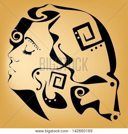 female portrait in the style of Art Nouveau