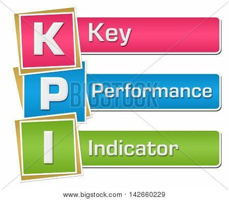 KPI - Key performance indicator text written over colorful background.