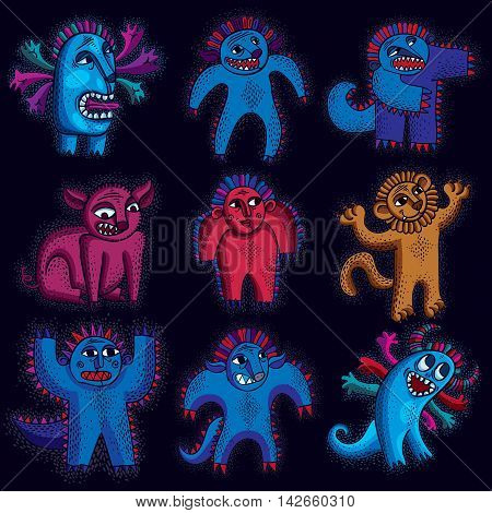 Comic characters set of vector funny alien monsters.