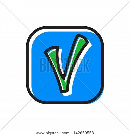 Checkmark in square icon in flat style isolated on white background. Click and choice symbol