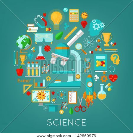 Science Chemistry and Physics Icons Set Education Concept. Vector illustration
