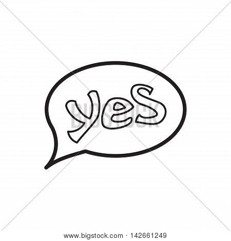 Word yes in bubble speech icon in outline style isolated on white background. Click and choice symbol