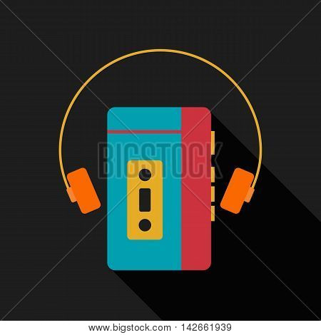 Retro vintage portable music player with headphone flat design isolated icon vector illustration