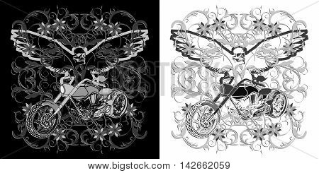 Motorcycle chopper on floral ornate background with an eagle and a skull in black and white. Show two embodiments.