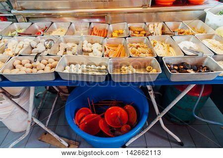 Food stall at the popular Kimberly street night market Penang Malaysia
