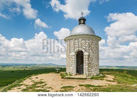 Hradistek chapel on a hill in the wine village Velke Bilovice Moravia Czech Republic