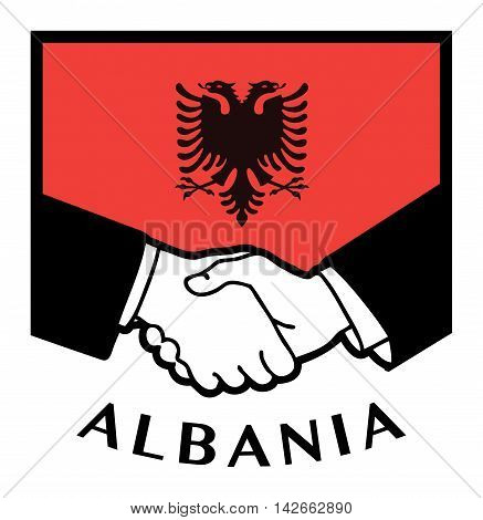 Albania flag and business handshake, vector illustration