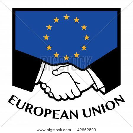 European Union flag and business handshake, vector illustration