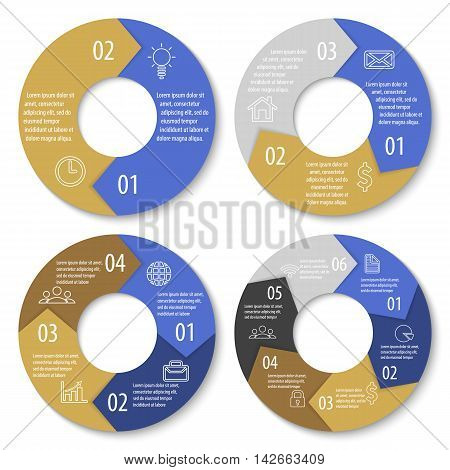 Vector template for round diagram, graph and chart. Circle arrows for infographic. Business concept with 2, 3, 4, 6 options, parts or steps