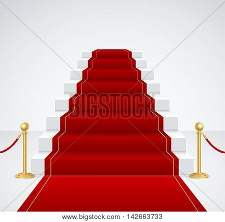 White Staircase and Red Carpet. Success Concept. Vector illustration