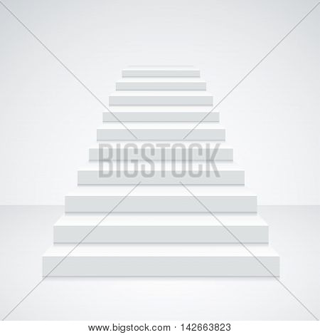 White Staircase Blank on a Light Background. A Symbol Of The Achievements. Vector illustration