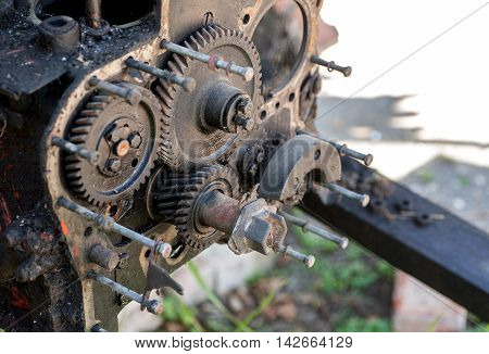 Disassembled Engine Outdoors