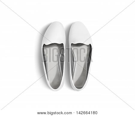 White blank women shoes mockup stand isolated, top view, clipping path. Female ballet foot wear design mock up with clear insole. Clean lady footwear template wth flat slip. Dance girls shoe display.