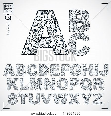 Floral alphabet sans serif letters drawn using abstract vintage pattern spring leaves design.