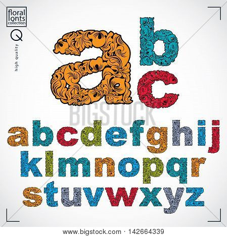 Set of beautiful lowercase letters decorated with herbal ornament.