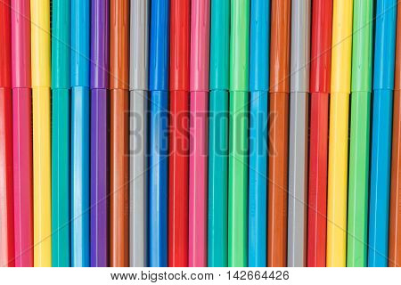 Multicolored Felt Tips Pens Background. Education Concept